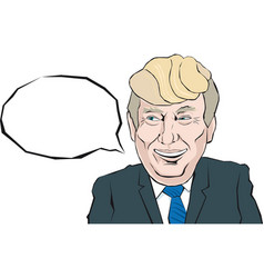 Cartoon portrait of donald trump says something vector