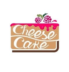 Cheesecake with raspberry jam vector