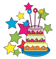 Colored-birthday-cake vector