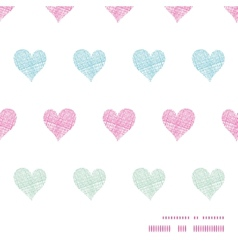 Colorful polka dot textile hearts horizontal frame vector