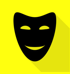 Comedy theatrical masks black icon with flat vector