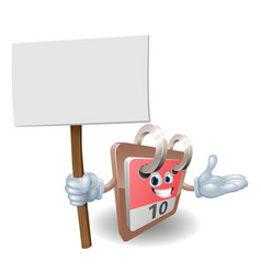 Cute calendar character holding a sign vector