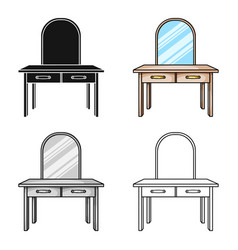 Dressing table icon in cartoon style isolated on vector