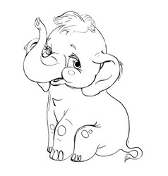 elephant smilingcontour drawing vector image vector image