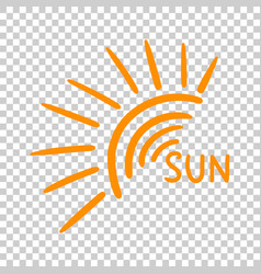Hand drawn sun icon on isolated background vector