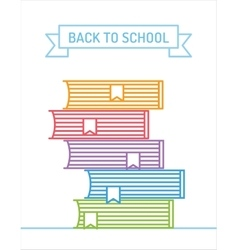 Linear books stack education university college vector