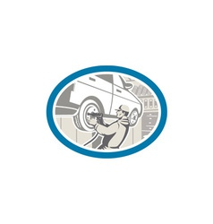 Mechanic changing car tire repair retro vector