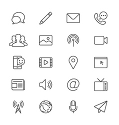 Media and communication thin icons vector