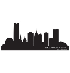 Oklahoma city skyline detailed silhouette vector