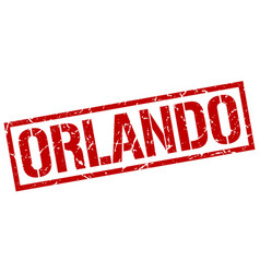 Orlando red square stamp vector