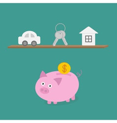Piggy bank an shelf with car key house flat design vector