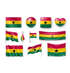 set ghana flags banners banners symbols vector image