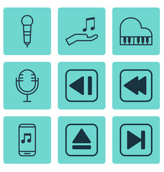 Set of 9 audio icons includes audio mobile mike vector