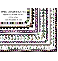 set of nine hand drawn brushes vector image