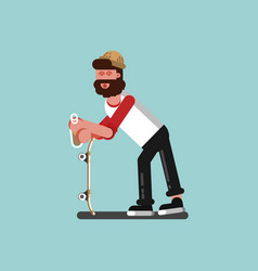 Skater chilling with alcohol vector