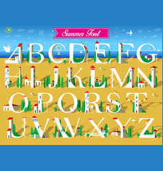 Summer font white houses on the beach vector