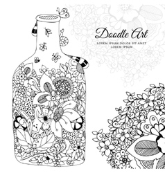 with flowers bottle Doodle vector image