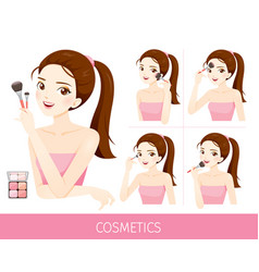Woman with step to apply cheeks makeup vector