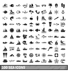 100 sea icons set in simple style vector