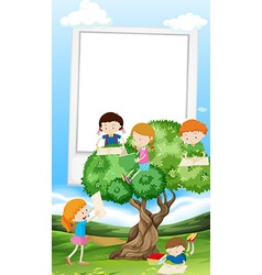 Paper template with children reading book vector image
