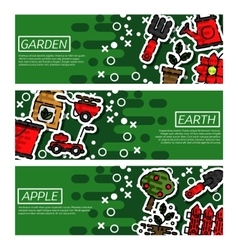 Set of horizontal banners about garden vector