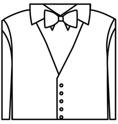 Figure sticker shirt with bow tie and waistcoat vector