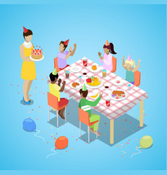 Isometric birthday party celebration with children vector