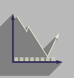 Flat web icon with long shadow economic graph vector