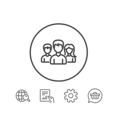 Group line icon users or teamwork sign vector