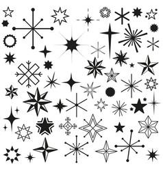stars sparkles black set symbols vector image