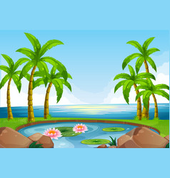 Scene with pond close to the ocean vector