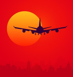 Sunset and air plane vector