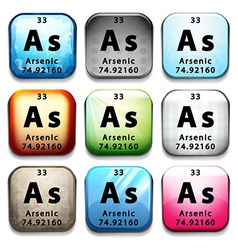 A button showing the chemical element arsenic vector