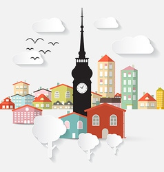 Abstract paper cut flat design town with tow vector