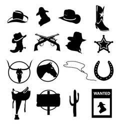 Cowboy icons set vector