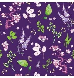 Purple Green Japanese Kimono Floral vector image