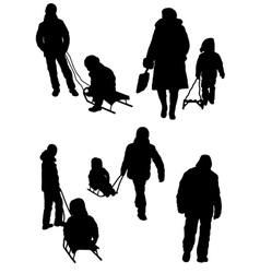 Collection of silhouettes of people and children w vector
