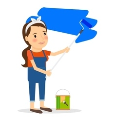 Woman paint wall at home vector
