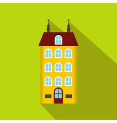 House with three floors icon flat style vector