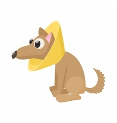 Dog in neck brace icon cartoon style vector