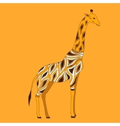 Beautiful adult giraffe in half-face vector