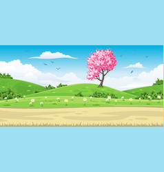 a spring landscape with tree vector image vector image