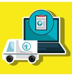 ambulance health laptop icon vector image vector image