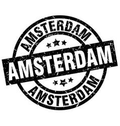 Amsterdam black round grunge stamp vector