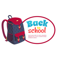 Back to school poster with fashionable backpack vector