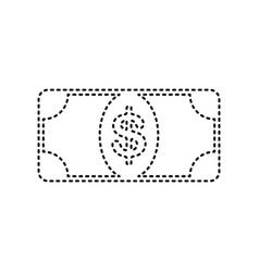 bank note dollar sign black dashed icon vector image