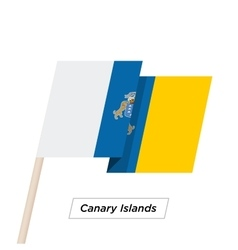 Canary islands ribbon waving flag isolated on vector