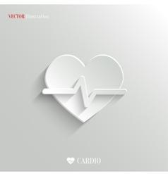 Cardiology icon - white app button vector image vector image