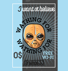 Color vintage ufo banner vector