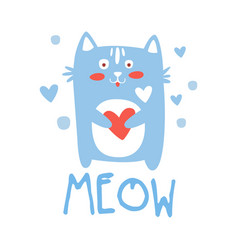 Cute cartoon cat with heart meow colorful hand vector